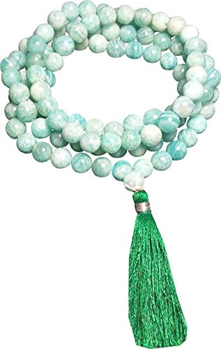 ALDOMIN Natural Energized Apatite 108 Bead Healing Crystal Rosary, Necklace, Mala (Bead Size 8 MM) ()