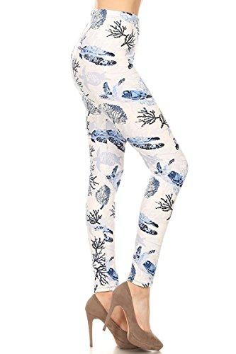 Turtle Leggings - S526-OS Tranquil Turtle Print Fashion Leggings