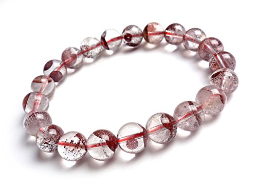 LiZiFang 9.5mm Natural Red Phantom Quartz Crystal Round Bead Bracelet
