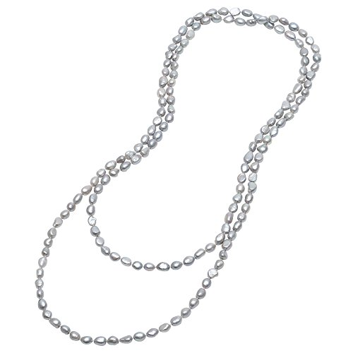 [8-9mm Baroque Long Grey Freshwater Pearl Endless Strand Necklace Sigle Knotted Jewelry for Women 59''] (Knotted Pearl Strand)