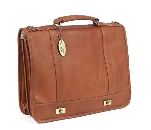 Claire Chase Leather Messenger Briefcase, Saddle, One Size - Claire Chase Leather Messenger