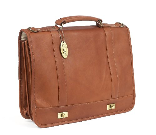 Claire Chase Leather Messenger Briefcase, Saddle, One Size ()