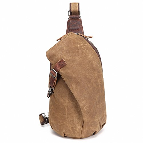 AOTIAN Waterproof Waxed Canvas Leather Hipster Men's and Women's One Shoulder Sling Small Backpacks For Hiking Biking Travel Outdoor Casual Chest Bags Back Packs (Back Sling)
