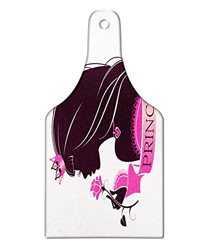 Princess Rose Bread (Lunarable Princess Cutting Board, Face Profile Silhouette of a Young Girl with Little Crown Heart Necklace and Rose, Decorative Tempered Glass Cutting and Serving Board, Wine Bottle Shape, Plum Pink)