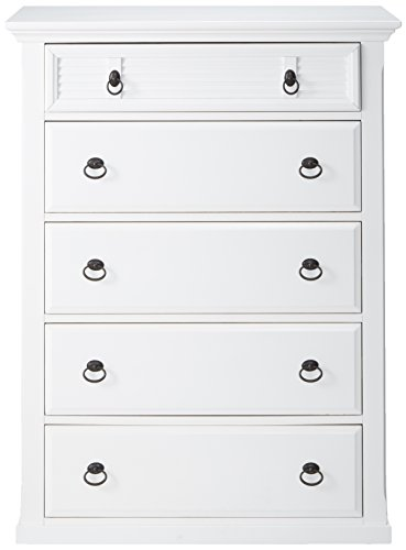Bedroom Alpine Furniture Winchester Farmhouse Chest, 38″ W x 18″ D x 50″ H, White dresser