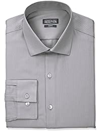 Men's Slim Fit Textured Stripe Solid Dress Shirt