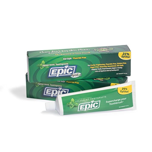 Epic Dental Fluoride Free Xylitol Toothpaste, Spearmint, 4.9 Oz Tube (Two-Pack)