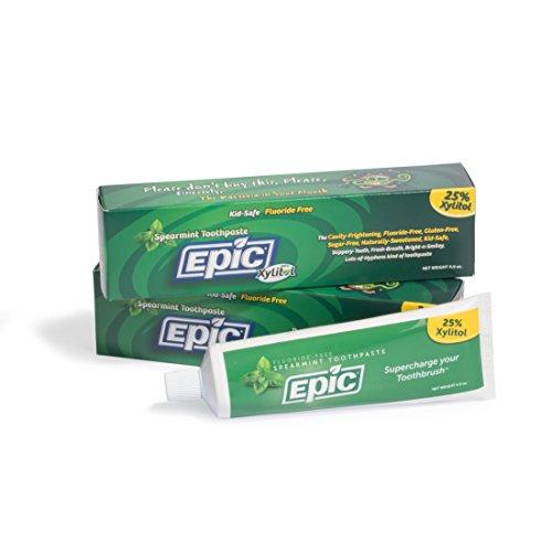 (Epic Dental Fluoride Free Xylitol Toothpaste, Spearmint, 4.9 Oz Tube (Two-Pack))