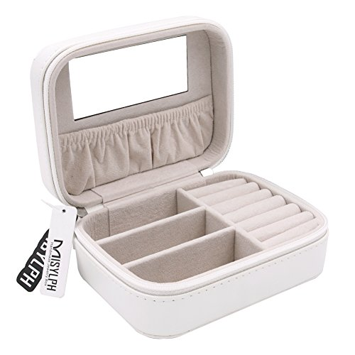 (MISYLPH PU Leather Jewelry Box for Ring&Earrings Necklaces, with Mirror&Zipper, Small-Size, Portable (Small, white))