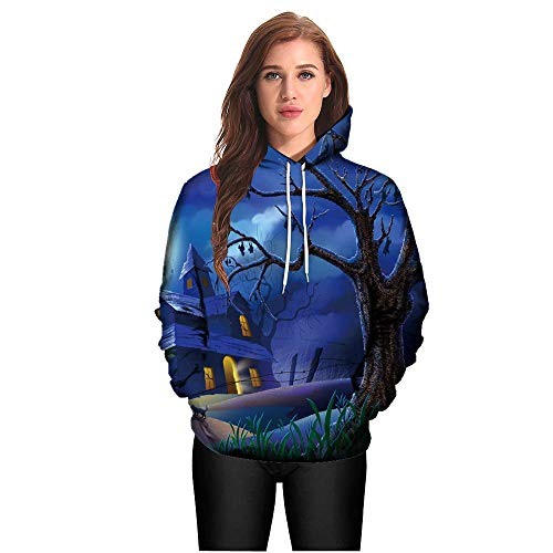 Halloween Costumes for Women, Pervobs Unisex Devil Castle 3D Print Long Sleeve Couples Hoodies Halloween Costumes(10, Blue)