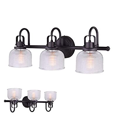 Oil Rubbed Bronze Vanity Light Bath Wall Fixture Clear Double Prismatic Glass Globes …
