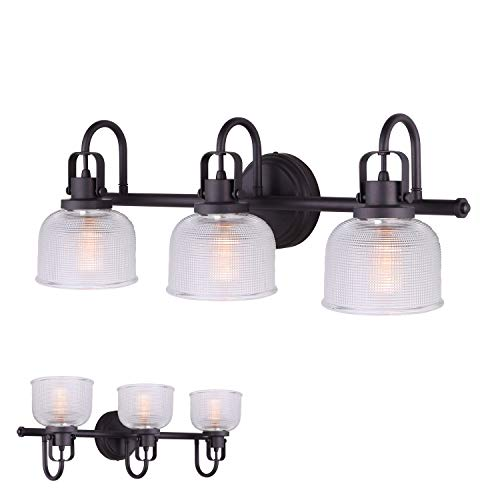 Oil Rubbed Bronze 3 Bulb Vanity Light Bath Wall Fixture Clear Double Prismatic Glass Globes (Light Wall Fixture 3 Bulbs)