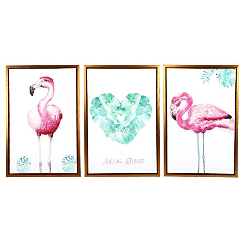 Nordic Style Decor Oil Painting Artwork 100% Hand Painted Contemporary Abstract Oil Paintings on Canvas Wall Art Ready to Hang for Home Decoration Wall Decor (12x18 inch,Flamingo Animal 3Pcs ) by Unknown