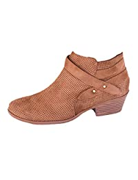 Women Lady Girl Retro Pointed Toe Buckle Strap Square Heel Single Shoes Martin Boots