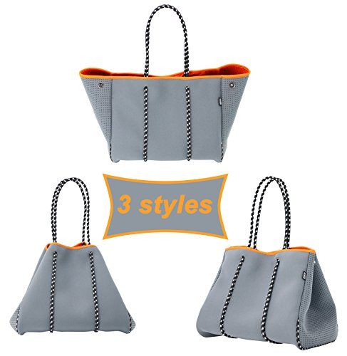 QOGiR Neoprene Multipurpose Beach Bag Tote with Inner Zipper Pocket and Movable Board (Grey, X-Large)