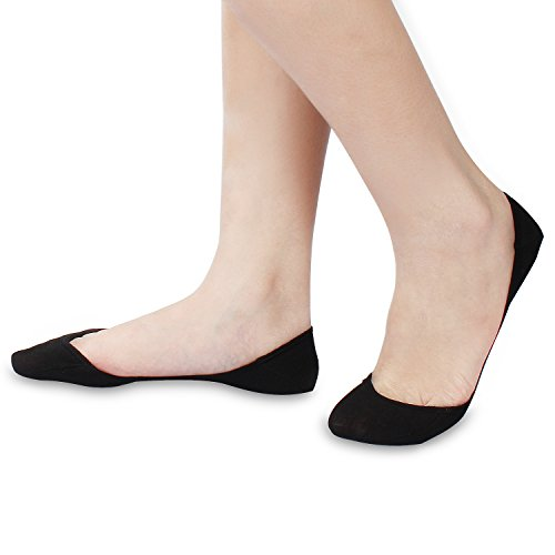 6,10 Pairs Women's No Show Socks Ultra Low Cut Liner Invisible Socks w/ball-of-foot Cushion & Silicone Heel