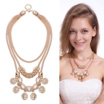 (Metal Bead - Bohemian Gold Artificial Pearl Hollow Ball Style Necklace Party Woman - Metallic Ivory Gilded Gilt Bone Colored Golden Drop Amber Off-White Chromatic - 1PCs)