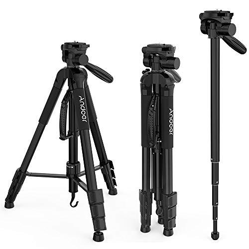 Andoer TTT-666R Camera Tripod Monopod Travel Portable Lightweight Tripod for Canon Nikon DV DSLR Camcorder with Carry Bag Max.Load 4kg ()
