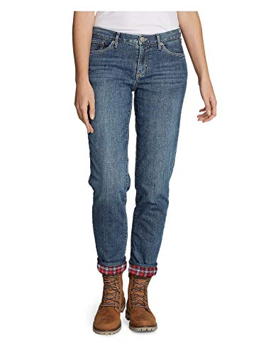 Pants Lined Womens (Eddie Bauer Women's Boyfriend Flannel-Lined Jeans, Dusted Indigo Regular 12)