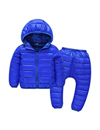 Happy Cherry Toddler Hooded Down Coats and Pants Set Lightweight Puffer Jacket Waterproof Snowsuit for Boys Girls 2-6X