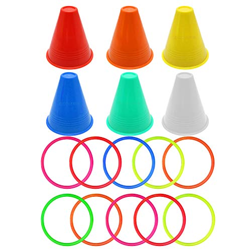 Horseshoe Cone Ring - Kids Toy, Ring Toss 16pcs Carnival Combo Set 10pcs Ring Toss Rings with 6pcs Plastic Cone for Children Kids Party Game Toys