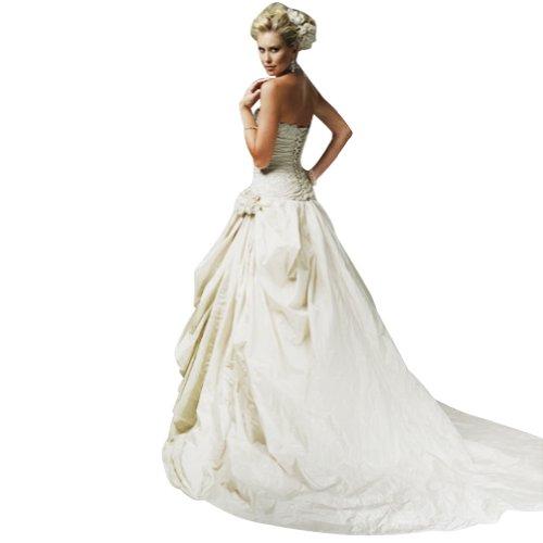 Hochzeitskleider mit Wunderschoene Art Taft Brautkleider Weiß GEORGE BRIDE Stickerei AnqICaa