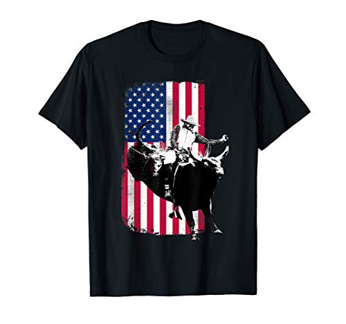 (Rodeo Bull Rider Patriotic American Flag T-Shirt for Cowboys)