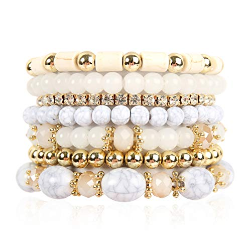 RIAH FASHION Multi Layer Bead Bracelet - Colorful Stacking Beaded Strand Stretch Cuff Statement Bangles Set (Natural) ()