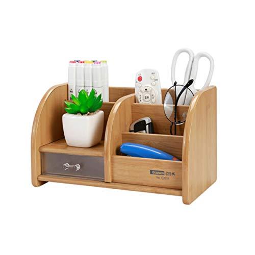 8HAOWENJU Multi-Function Wooden Pen Holder, Wooden Desktop Storage/Wooden Remote Control Storage Box Container for Desktop Office Supplies Home, Retro Wood Color 1