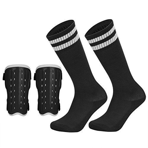Soccer Shin Pad Over Knee Soccer Socks 2 Pairs Kids Leg Carf Protective Shin Pads Adjustable Perforated Breathable Guard Board and Impact Resistant Youth Kids Soccer Guards ()