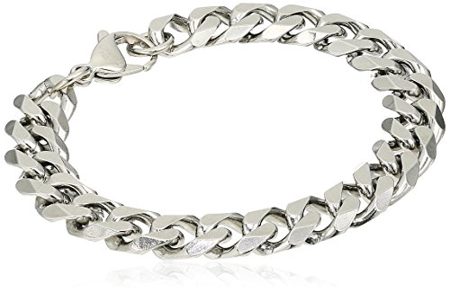 Crucible Jewelry Mens Stainless Steel Beveled Curb Chain Bracelet, 8.5-Inch (11 mm), White (Curb Bracelet Beveled Chain)