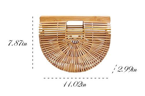 Bamboo Handbag Handmade Tote Bag Handle Straw Beach Bag for Women By Samuel (7.87''x11.02''x2.99'') by Samuel (Image #2)