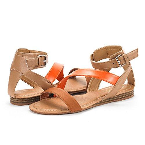 Toe PAIRS Design Suckle Summer Open Sandals Flat Valcre Crisscross Straps Ankle DREAM Fashion Buckle Nora Womens honey Tx1xA
