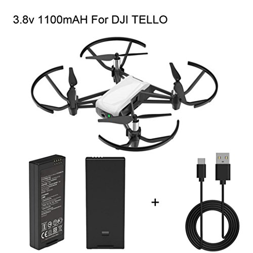 DJI tello Battery Intelligent Flight Battery 1100mAh 3.8V + USB Charging Cable for DJI Tello Drone (1PC Battery + Cable) (Black) by Drone_Tello