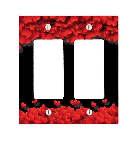 (Moonlight Printing Heart Hearts Frame Black Back 2 Gang Toggle/Decorator Dimmer Wall Plate (4.75 x 4.69in))