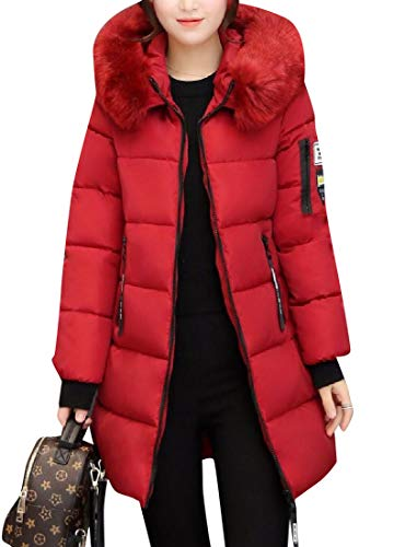 Red XINHEO Duster Thickening Padded Collar Women's Coat Longline Fluffy 8zqgw8nrR