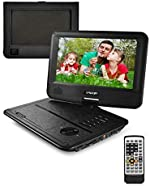 FOYU Portable DVD Player, 5 Hours Rechargeable Battery, Support USB/SD Card/Sync