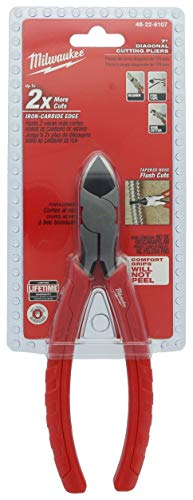 Milwaukee 48-22-6107 Rust Resistant 7 Inch Diagonal Wire Cutting Pliers with 1 Inch Reaming Head