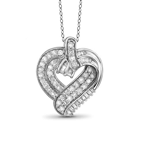 JewelExcess 1 Carat T.W. White Diamond Sterling Silver Fashion Heart Pendant