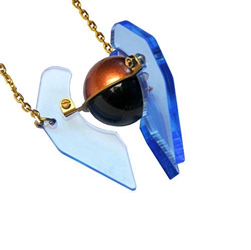 Sarah angold Pyram acrylique Live bord bleu necklace31cm