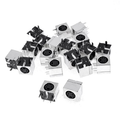 uxcell 20 Pcs Silver Tone Metal Case S-Video 4 Pins Mini DIN Female Socket