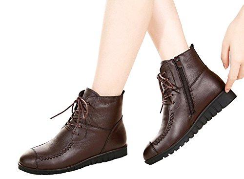 DAFENP Zapatos Botas de Invierno Cuero para Mujer Botines Nieve Calentar Forrada De Piel Cordones: Amazon.es: Zapatos y complementos