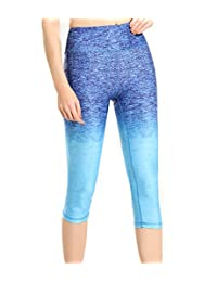RUOYUCL Women's 3/4 Length Sports Capris Yoga Leggings