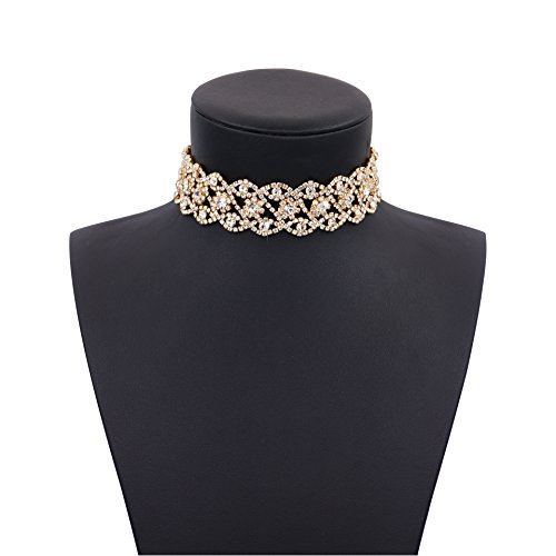 Daycindy Bling Clear Crystal Flower Choker Necklace for Women ()