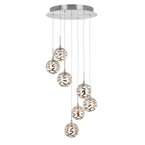 Artika AVE7-SS-HD1 7th Avenue Suspended Indoor Light Fixture, 14-inches with Dimmable Light and a Satin Nickel Finish ()