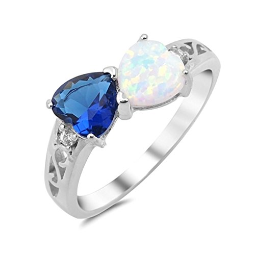 Double Heart Lab Created Opal Simulated Birthstone CZ 925 Sterling Silver Ring Size 4 (Tiffany Sapphire Bands)