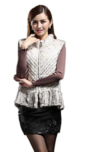 (YR Lover New Women's Winter Real Kintted Mink Fur Vest for Female US14 )