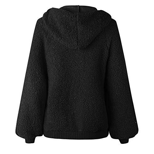 Capuche Longues Blouse Tops Manches Manteau Lenfesh À Chemises Black Pull Sweatshirt Zipper Femmes wXCqZt