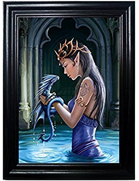 DRAGON PRINCESS FRAMED Wall Art-Lenticular Technology Causes The Artwork To Flip-MULTIPLE PICTURES IN ONE-HOLOGRAM Type Images Change-MESMERIZING HOLOGRAPHIC Optical Illusions-THOSE FLIPPING PICTURES