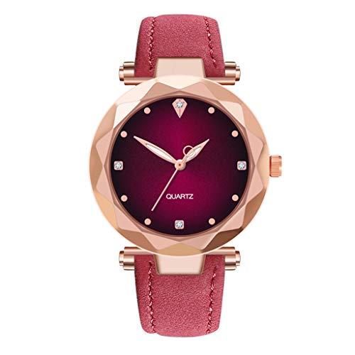 XBKPLO Diamond Women Watches Fashion Concise Halo Temperament Ladies Fine Quartz Analog Wrist Watch Leather Strap Bracelet Jewelry Gift Dial Pink Strap Watch